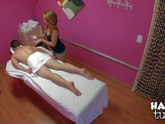 Attractive exotic girl Mandi Miami giving massage