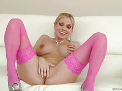 Blonde MILF Christie Stevens in pink stockings sucks