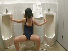 Girl bound on public toilet used