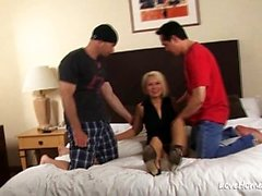 Beautiful blonde sucked dick and got 3some fucked