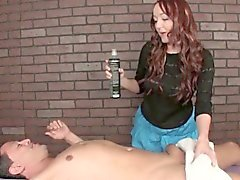 Gorgeous redhead masseuse gives angry tugjob