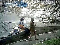 Couple fuck in park
