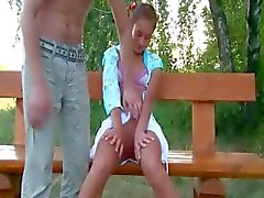 Russian teen couple sex on a bench