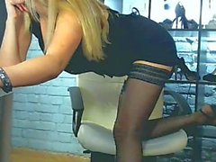 Blonde In Black Pantyhose Tease On Webcam