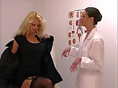 Shy blonde gets a pussy check up from horny nurse whore