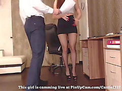 Cute office whore dancing around