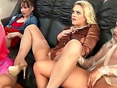 Glam sluts get pissed on during party