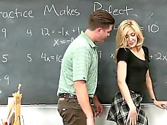 Hot blonde schoolgirl fucks guy friend in classroom
