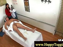 Masseuse gives client a stiff dick