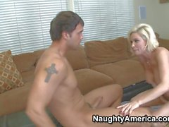 Blonde cougar Diamond Foxx rides on young Rocco Reed