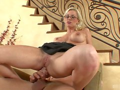 Horny blonde in glasses, Brandi Edwards, sheds her business attire and gets her