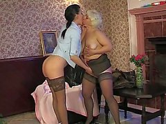 Lesbos In Stockings Use Toys & Tongues