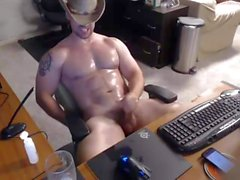 Sexy Beefy Cowboy Double Cum Cam Video (Jerk Off & Cum)