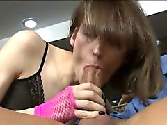 Skinny tranny Birdmountain in lingerie asshole pounded
