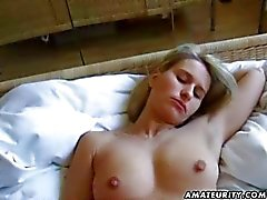 Blonde amateur girlfriend sucks with creampie