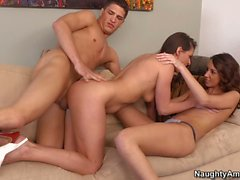 Katie Jordin and Victoria Lawson enjoy threesome sex instead of foursome
