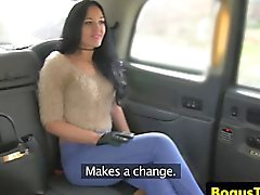 British taxi babe facialized by horny driver