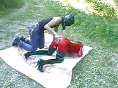Bizarre slut fist fucked outdoors in her gaping cu