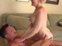Blonde cougar has fun with a neighbor
