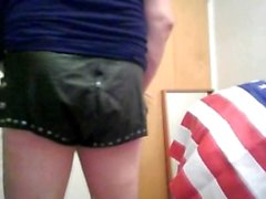 hot sexy stripp in sexy leather shorts.