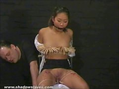 Asian bdsm of slave Tigerr Benson in oriental bondage