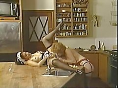 Retro lesbians licking and sucking cunts in the kitchen