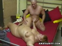 Chubby amateur wife sucks and fucks hubby at home