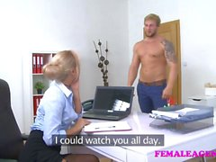 FemaleAgent Bodybuilder fucks sexy blonde agent to orgasm