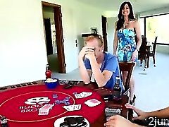 Stud loses his gorgeous big boobed mom in a poker match