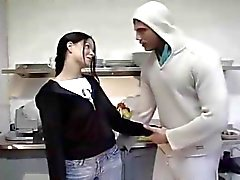 Sex in the kitchen with hot brunette teen