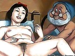 Ogre tecknad Porr het naken tonåring flickor har sex