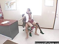 Teen with pierced clit dressed in a school girl uniform gets fuck