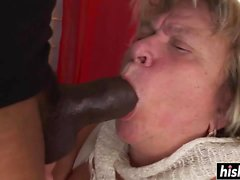Cougar with big tits jumps on a cock