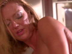Kitchen sex with horny cougar Brenda James