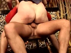 Stacked brunette mom has a stiff pole taking her hairy slit to climax