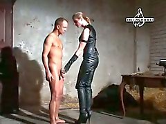 Guy dominated by brunette mistress