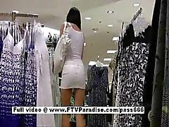 Pleasant Stunning woman in a public store
