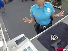 Huge boobs security officer pounded at pawnshop