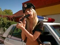 Horny Police Woman plays with her self