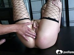 Sexy slut in fishnets gets penetrated hard
