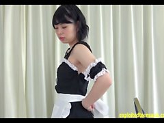 Stunning Mizuho Ishimori Teases In Maids Uniform Strips Off And Hides Her Bits Very Cute