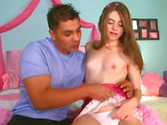 Sweetie pink teen takes a length