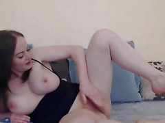 Huge Titties French Babe Fucks her Pussy Hard